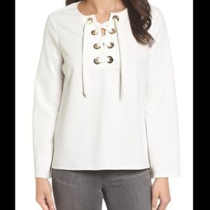 Vince Camuto White Gold Corset Lace Up Blouse S